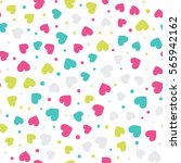 seamless hearts and dots... | Shutterstock .eps vector #565942162