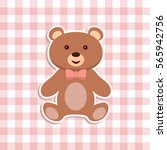 teddy bear toy sticker flat... | Shutterstock .eps vector #565942756