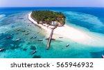 Small photo of Paradise tropical island white beach, turquoise water, Zanzibar Prison island aerial view.