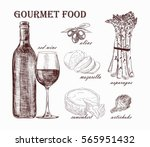natural wine and snacks | Shutterstock .eps vector #565951432
