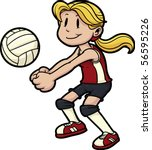 girl playing volleyball. girl... | Shutterstock .eps vector #56595226