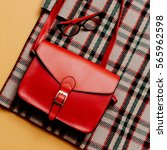 checkered coat and red... | Shutterstock . vector #565962598