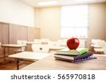 school teacher's desk with... | Shutterstock . vector #565970818