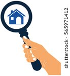 zoom in or look for home with a ... | Shutterstock .eps vector #565971412