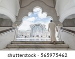 a man coming up the stairs   in ...   Shutterstock . vector #565975462