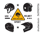motorcycle helmets icons set ...   Shutterstock .eps vector #565985956