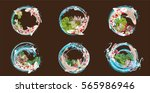 set vector painting lotus and... | Shutterstock .eps vector #565986946