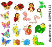 set of cartoon characters on a... | Shutterstock .eps vector #565988638
