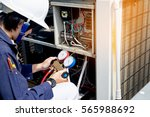 technician is checking air... | Shutterstock . vector #565988692