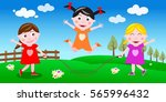 girls playing jumping rope... | Shutterstock . vector #565996432