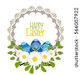 set of vector easter eggs ... | Shutterstock .eps vector #566007922