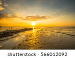 evenings by the sea on the ebb. ... | Shutterstock . vector #566012092