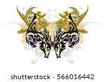 eagle horse butterfly splashes. ... | Shutterstock .eps vector #566016442