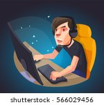 a man play the computer game ... | Shutterstock .eps vector #566029456