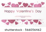 poster with hearts from pink... | Shutterstock .eps vector #566056462