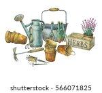 Illustration Of Gardening Tools....
