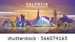 valencia skyline. vector... | Shutterstock .eps vector #566074165