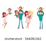 big set of happy family vector... | Shutterstock .eps vector #566081362