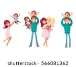 big set of happy family vector... | Shutterstock .eps vector #566081362