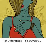 hand drawn portrait of a... | Shutterstock .eps vector #566090932