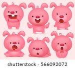 pink bunny emoji characters set ... | Shutterstock .eps vector #566092072