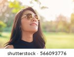 young woman relaxing with good... | Shutterstock . vector #566093776