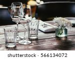 glasses  flowers  fork  knife... | Shutterstock . vector #566134072