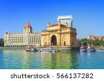 the gateway of india and boats... | Shutterstock . vector #566137282