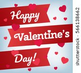 happy valentine's day text with ... | Shutterstock .eps vector #566138662