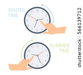 the hand change time on the... | Shutterstock .eps vector #566139712