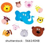 cute animal head icons  ... | Shutterstock .eps vector #56614048