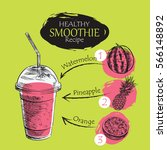 hand drawn smoothie recipe... | Shutterstock .eps vector #566148892