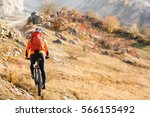 bike cyclist with red backpack... | Shutterstock . vector #566155492