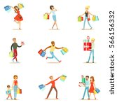 shopaholic people happy and... | Shutterstock .eps vector #566156332