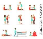 woman following firs aid... | Shutterstock .eps vector #566156452