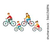 parents and kids riding... | Shutterstock .eps vector #566156896