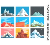 mountain peaks and summits... | Shutterstock .eps vector #566156932