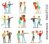 people fighting and quarrelling ... | Shutterstock .eps vector #566157112