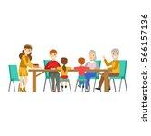 happy family having good time... | Shutterstock .eps vector #566157136