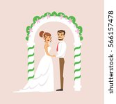 newlyweds standing at the arch... | Shutterstock .eps vector #566157478