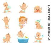 adorable happy baby and his... | Shutterstock .eps vector #566158645