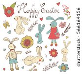 colorful easter related... | Shutterstock .eps vector #566164156
