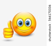cute emoticon with thumb up ... | Shutterstock .eps vector #566170336