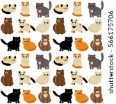 funny characters cute cats in... | Shutterstock .eps vector #566175706