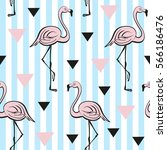seamless pattern with pink... | Shutterstock .eps vector #566186476