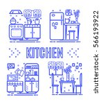 set icon home areas kitchen.... | Shutterstock .eps vector #566193922
