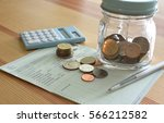 saving account book and... | Shutterstock . vector #566212582