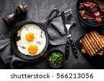 bacon and eggs | Shutterstock . vector #566213056