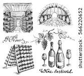 set of wine bottles and barrels ... | Shutterstock .eps vector #566220652