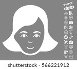 lady face pictograph with bonus ... | Shutterstock .eps vector #566221912